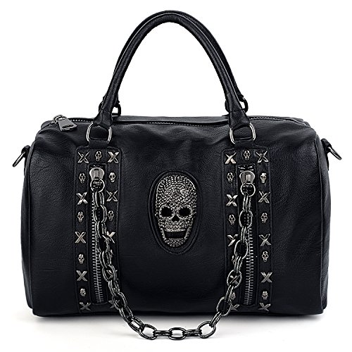 UTO Women Skull Tote Bag Rivet Studded Metal Chain Handbag PU Leather Purse Shoulder Bags 513A