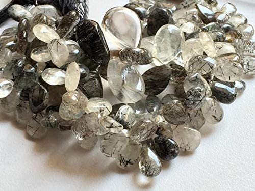 GemAbyss Max 45% OFF Beads Gemstone 1 Strand Bead Soldering Natural Quartz Pear Rutile