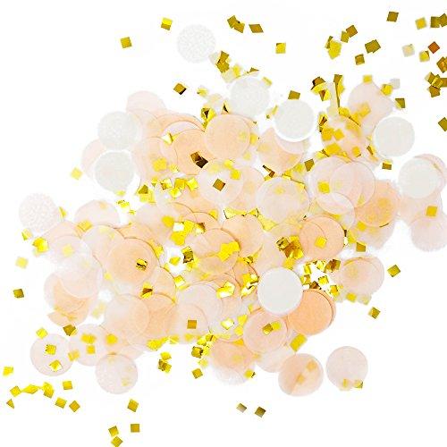 Premium 1-inch Round Tissue Paper Party Table Confetti - 50 Grams (Peach, White, Gold Mylar Flakes)