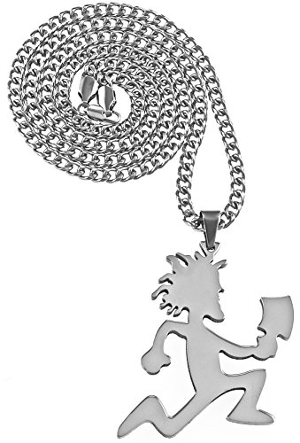 GWOOD Juggalo with Cleaver Pendant on 30 Inch Cuban Necklace (SILVER COLOR WITH 30 INCH CUBAN CHAIN)