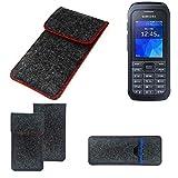 K-S-Trade Handy Schutz Hülle Für Samsung Xcover 550 Schutzhülle Handyhülle Filztasche Pouch Tasche Hülle Sleeve Filzhülle Dunkelgrau Roter Rand