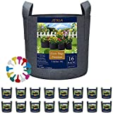 JERIA 16-Pack 5 Gallon Grow Bags, Heavy Duty Thickened Nonwoven Fabric Pots Container with Reinforced Handles, Vegetable/Flower/Plant Grow Pots Come with 16 Pcs Plant Labels