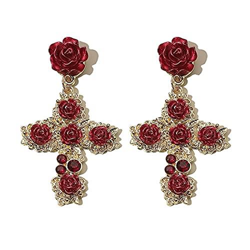 CcHhyyt Pendientes barrocos retro de rosas rojas pendientes de oro pendientes pendientes pendientes de gancho de gota para mujeres joyas regalo para mujeres y niñas SL-HJE020-