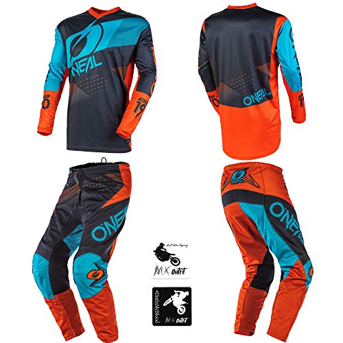 O'Neal Element Factor Gray/Orange/Blue Kids/Youth motocross MX off-road dirt bike Jersey Pants combo riding gear set (Pants 12/14 (26) / Jersey Kids Large)