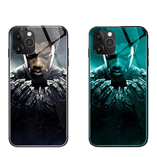 Black Panther Luminous Case for iPhone 7 8 Plus Xr 11 Pro Max SE2, Galaxy S10 N10 S20 Plus, Glowing Luxury Tempered Glass Cover Soft TPU Bumper Shockproof Case (Black Panther 4, Galaxy S10 Plus)