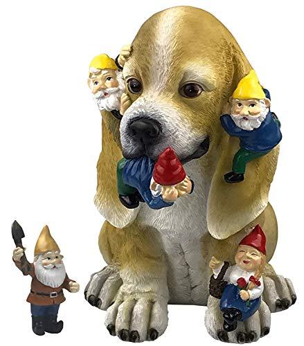 By Mark & Margot Dog Gnome Statue Garden Figurine Massacre - Best Art Décor for Indoor Outdoor Home Or Office