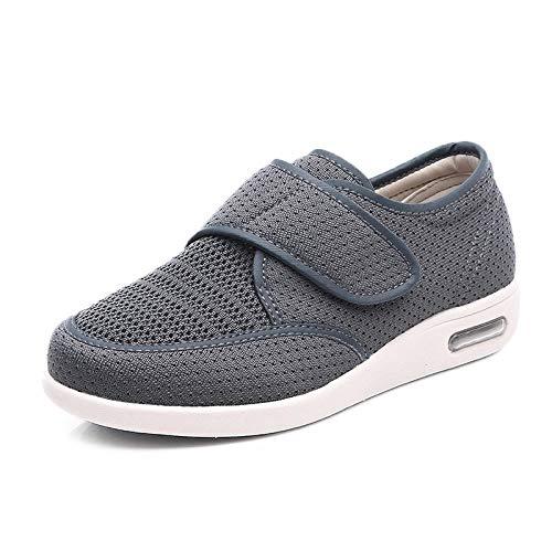 B/H Zapatos para Caminar Extra Anchos con Cierres,Zapatos hinchados en los pies, pies Grandes Anchos Sueltos y Desgastados-Gris_42,Ajustable De Velcro Zapatillas OrtopéDica