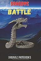Dragon Battle: carnet de notes dragon 6x9 pouces, 100 pages lignées avec figurine dragon en noir et blanc au-dessus de chaque page, idéal pour les fans science-fiction et médiéval