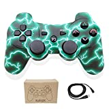 Kolopc Wireless Bluetooth Controller for PS3 Double Shock - Bundled with USB Charge Cord (Green Flash)