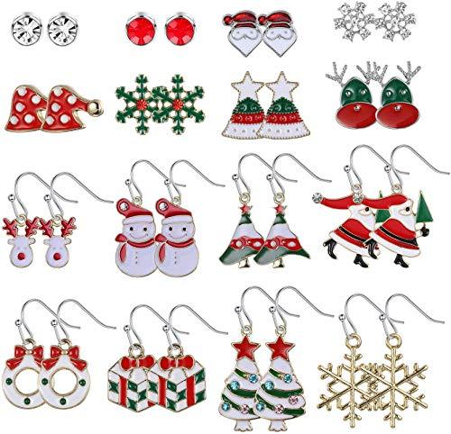 Adramata 16 paia di orecchini a bottone natalizio con gocce per le donne Orecchini pendenti con pendenti natalizi natalizi del Ringraziamento con borsa regalo
