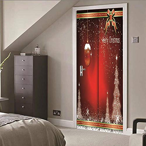 DNFurniture 3D Etiqueta de la Puerta Lazo de Navidad Cinta 77X200CM Adhesivo de Pared escenografía Europeo...