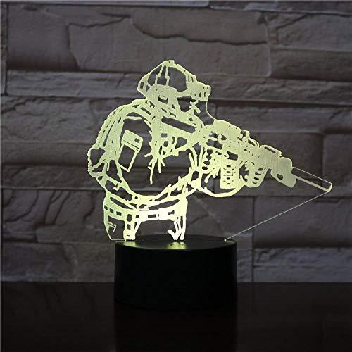 jiwenhua Luz nocturna 3D Serie Juego Led Colorido Táctil Lámpara de mesa, 120, Altavoz Bluetooth Base Blanca