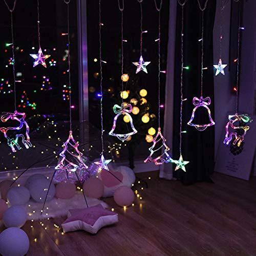 TOSLEJF rbol de Navidad Campanas Cadena de luces Luz de cortina Luces de cadena de hadas Guirnalda de Navidad al aire libre para fiesta en casa Boda Decoracin de ao nuevo (Color : Warm white)