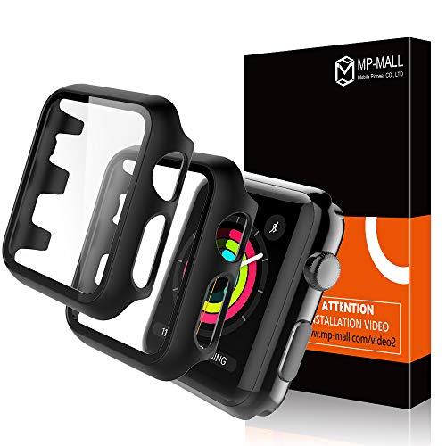 MP-MALL【2 Pack】 Apple Watch Case for 38mm Series 3/2/1 Tempered Glass Screen Protector Cover, Full Protection Hard PC Protective Case for iWatch 38mm