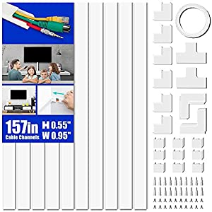 """Cord Cover Raceway Kit, 157"""" Cable Cover Channel, Paintable Cord Concealer System Cable Hider, Cord Wires, Hiding Wall Mount TV Powers Cords in Home Office, 10X L15.7in X W0.95in X 0.55in"""
