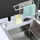 Lavabo Caddy in spugna, portasapone, organizer per lavabo Sider rubinetto telescopico, organizer per lavello da cucina, supporto per lavandino, supporto per cestello portaoggetti espandibile (bianco)