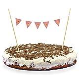 Oblique Unique® Torten Wimpel Kuchen Cake Muffins Dekoration Wimpelkette - Farbe wählbar (Rosa)
