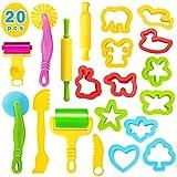 Ucradle Knete Zubehör Kinder Knetwerkzeug Teig, 20 Pcs Knete Ausstechformen Plastilin Werkzeug Set...