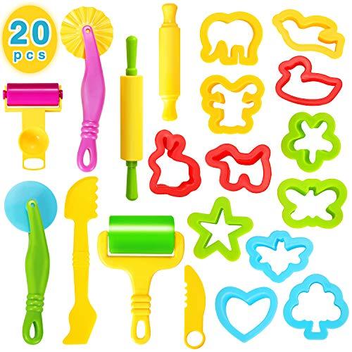 Ucradle Knete Zubehör Kinder Knetwerkzeug Teig, 20 Pcs Knete Ausstechformen Plastilin Werkzeug Set Küchenspielzeug Knete Modellierwerkzeug