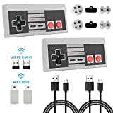 KJ-KayJI NES Wireless Controller 2 Pack, Rechargeable NES Classic Wireless Controller for Nintendo Classic NES/SNES Mini Edition and PC.NES Classic Wireless Controller Support Windows/Mac OS/Linux