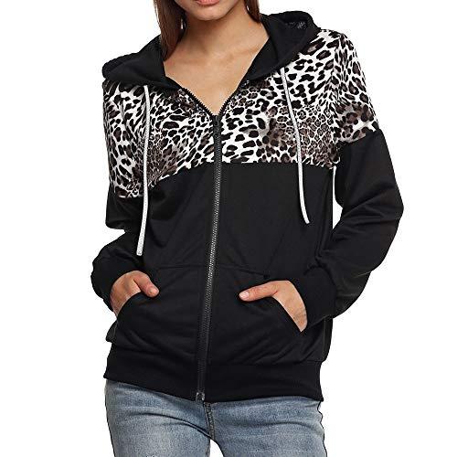 Geili Damen Hoodie mit Kapuze Sweatshirt Zip Jacke Leopard Drucken Patchwork Kapuzenjacke Kapuzenpullover mit Taschen Frauen Herbst Große Größen Reißverschluss Sweatjacke Mantel Coat