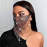 IYOU Bling Cristal Engrener Masque Noir Gland Visage Chaîne
