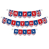 Big Dot of Happiness Personalized Cheerio, London - Custom Birthday Party Bunting Banner & Decorations - Happy Birthday Custom Name Banner
