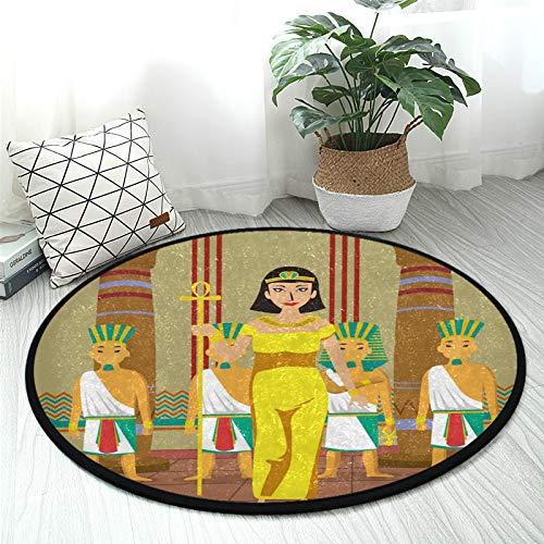 Vintage Antike Ägypten Kleopatra Kinderteppich Baby Krabbeldecke rutschfest Plüsch Teppich Kinder Aktivität Spielmatte für Schlafzimmer Spielzimmer Home Decor (Durchmesser 92 cm)