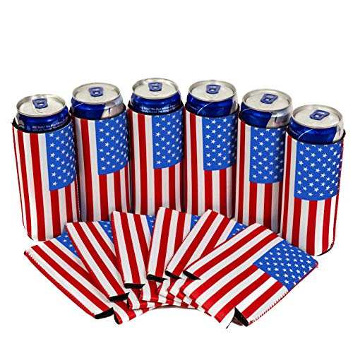 QualityPerfection 6 Slim Can Cooler Sleeves, Beer/Energy Drink Blank Skinny 12 oz Neoprene Coolie, Compatible with RedBull, Spiked Seltzer, White Claw (6, USA Flag)