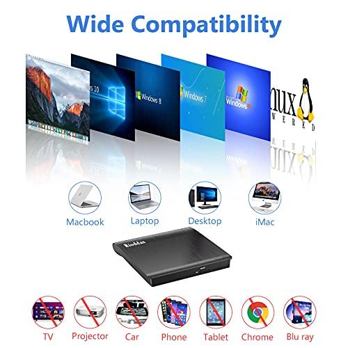 External CD Drive USB 3.0 Portable CD DVD +/-RW Drive DVD/CD ROM Rewriter Burner Writer Compatible with Laptop Desktop PC Windows Mac Pro MacBook