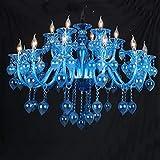 WEM Novedad Lámpara de techo, candelabro de cristal de estilo europeo, candelabro de dormitorio, hombre, barra de café, candelabro de cristal azul, restaurante, bar, cibercafé para enviar luz, candel