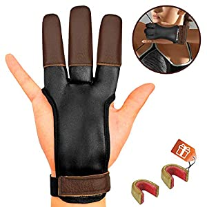 KESHES Archery Glove Finger Tab Accessories – Leather Gloves for Recurve & Compound Bow – Three Finger Guard for Men Women & Youth