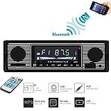 DAETNG Multimedia Estéreo para automóvil con Bluetooth, con Puerto USB/SD/AUX, Radio FM de Audio, Reproductor Digital de MP3 Altavoz Lector Llamadas Manos Libres con Control Remoto inalámbrico