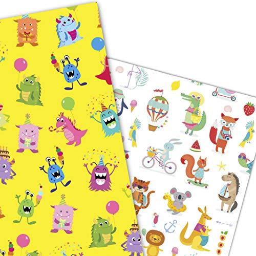 ArtUp.de 6 Bögen Geschenkpapier gemischt fröhliche Tiere und lustige Monster (je 3 Bögen) Geschenke Kindergeburtstag - DIY Bastelbögen stabile Qualität Größe je Bogen DIN A2 (42 x 59 cm)