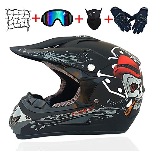 Casco de Descenso para jóvenes Adultos Regalos Gafas máscara Guantes Bolsillo Neto BMX MTB ATV Bicicleta Carrera Integral Integral Casco