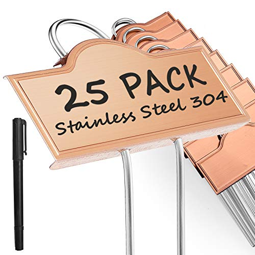 Metal Plant Labels Weatherproof 25 Pack, Outdoor Garden Markers Tags for Plants Vegetables Herb Seedlings Flowers with a Pen, Height 10.75 Inch, Label Area 3.74'' x 1.39''