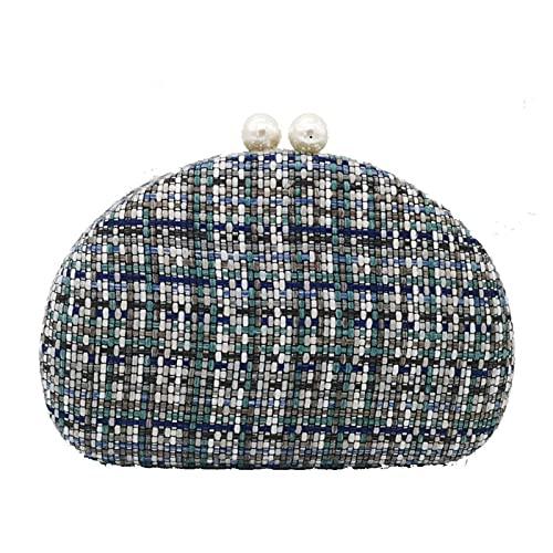 A+TTXH+L Bolso Noche Mujer Las Mujeres Tejidas de Punto se embrinen Bolsos de Noche y Bolsos Perlas Broche Cadena de Moda Bolsas de Hombro (Color : A, Size : Small Clutch)