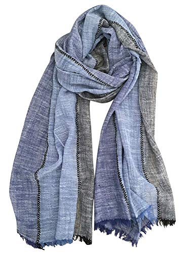 GERINLY Color Block Summer Scarf for Men Long Neck Wraps Shawl Urbanstyle Scarf Gift for Men Thin Scarf (Navy Blue Black)