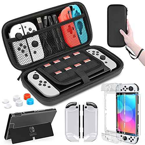 HEYSTOP Nintendo Switch OLED Model Carrying Case, 9 in 1 Accessories Kit for 2021 Nintendo Switch OLED Model with Dockable Protective Case Cover, HD Switch Screen Protector and Thumb Grip Caps