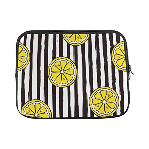 INTERESTPRINT Laptop Carrying Bag Striped Pattern with Lemons Notebook Sleeve Case Cover 17 Inch 17.3 Inch