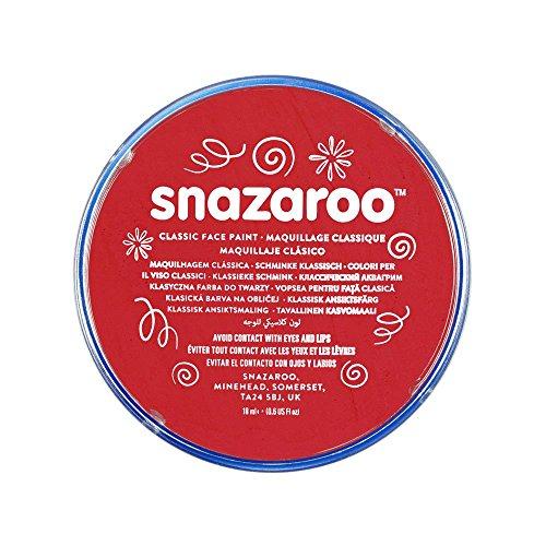 Snazaroo- Colore per Viso, Rosso Brillante, 18 ml, 1118055
