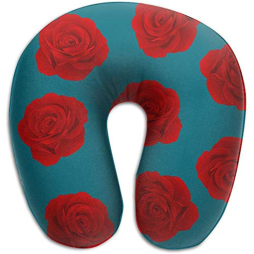 Forma De U Almohada,Red Rose On Indigo Blue Funda Lavable para El Cuel