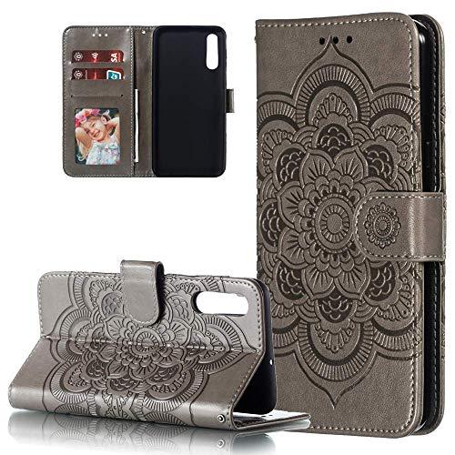 HMTECH Huawei P30 Hülle,Für Huawei P30 Handyhülle Prägung Mandala-Blume Flip Case PU Leder Cover Magnet Schutzhülle Tasche Skin Ständer Handytasche für Huawei P30,LD Mandala Gray