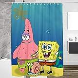 Duschvorhangs Spongebob Duschvorhang Lang Polyester Stoff Anti Schimmel Wasserdicht Waschbar Beschwertem Saum Mit 12 Haken 150X180 cm
