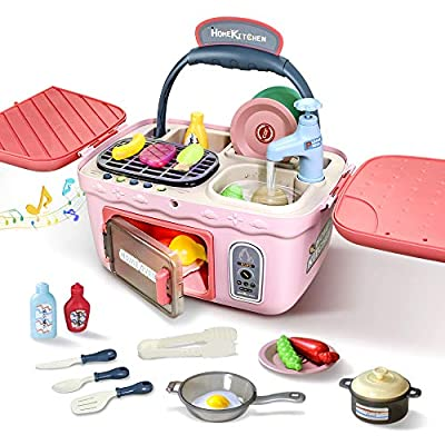 Play Kitchen Pretend Toy for Kids,Picnic & Kitchen Playset Portable Basket Toys with Music & Light,Color-Change-Foods Play, Pretend Play Oven and Other Kitchen Accessories Toys for Girls and Boys