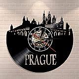 wtnhz LED Reloj de Pared de Vinilo Colorido Reloj de Pared de Viaje de Praga, Mural de Paisaje Urbano de la República Checa, Reloj de Pared con Registro de Vinilo, Reloj de Pared Moderno para Deco