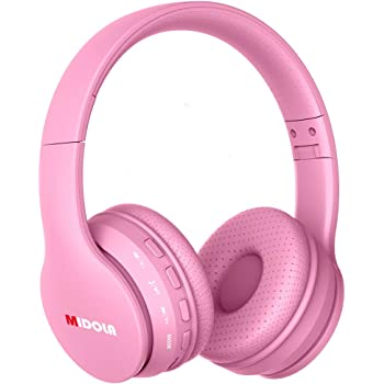 Midola Volume Limited 85dB Kids Headphone Bluetooth Wireless Over Ear Foldable Stereo Sound Noise Protection Headset with AUX 3.5mm Cord Mic For Boys Girls Cellphone Ipad Tablets TV Notebook Rose Pink