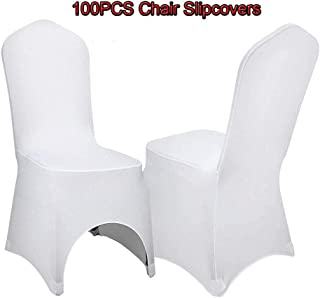 LOYALHEARTDY Chair Slipcovers, 100 PCS White Chair Covers Polyester Spandex Chair Slipcovers Chair Cover Stretch Slipcovers for Wedding Party Dining Banquet Chair Decoration Covers