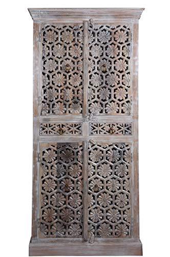 Orientalischer Schrank Kleiderschrank Hamada Grau 180cm hoch | Marokkanischer Vintage Dielenschrank schmal | Orientalische Schränke aus Holz massiv für den Flur, Schlafzimmer, Wohnzimmer oder Bad