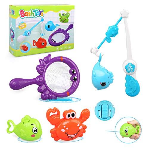 LEADSTAR Badespielzeug Baby ab 1 2 3 Jahr,5 Stück Badewanne Spielzeug Kinder,Baby Wasserspielzeug mit 3 Schwimmende Tiere und 1 Ruten & 1 Fischernetz